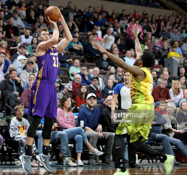 Travis Wear from the Los Angeles DFenders shoots a jumper against the Sioux Falls Skyforce at the Sanford Pentagon March 18 2017 in Sioux Falls South...