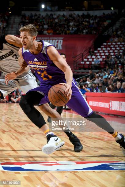 Travis Wear of the Los Angeles Lakers drives to the basket against the Sacramento Kings on July 10 2017 at the Thomas Mack Center in Las Vegas Nevada...