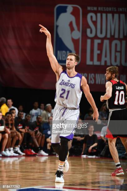Travis Wear of the Los Angeles Lakers reacts against the Portland Trailblazers during the 2017 Summer League Finals on July 17 2017 at the Thomas...