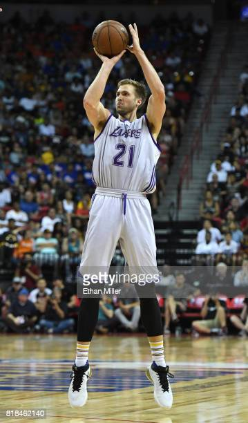 Travis Wear of the Los Angeles Lakers shoots a 3pointer against the Portland Trail Blazers during the championship game of the 2017 Summer League at...