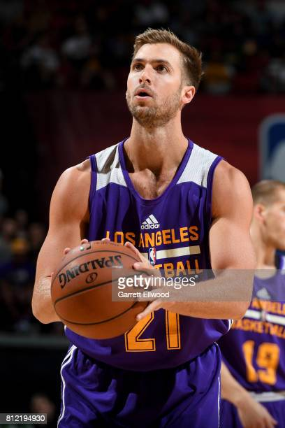 Travis Wear of the Los Angeles Lakers shoots a free throw against the Sacramento Kings on July 10 2017 at the Thomas Mack Center in Las Vegas Nevada...