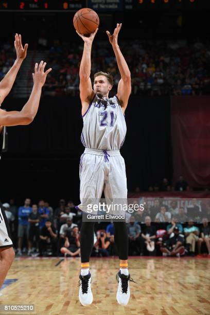 Travis Wear of the Los Angeles Lakers shoots the ball against the LA Clippers on July 7 2017 at the Thomas Mack Center in Las Vegas Nevada NOTE TO...
