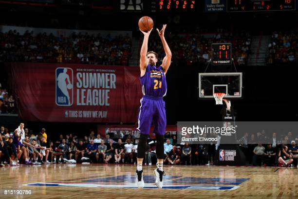 Travis Wear of the Los Angeles Lakers shoots the ball during the game against the Brooklyn Nets during the Quarterfinals of the 2017 Las Vegas Summer...