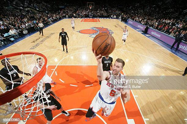 Travis Wear of the New York Knicks shoots against the Minnesota Timberwolves on March 19 2015 at Madison Square Garden in New York City NOTE TO USER...