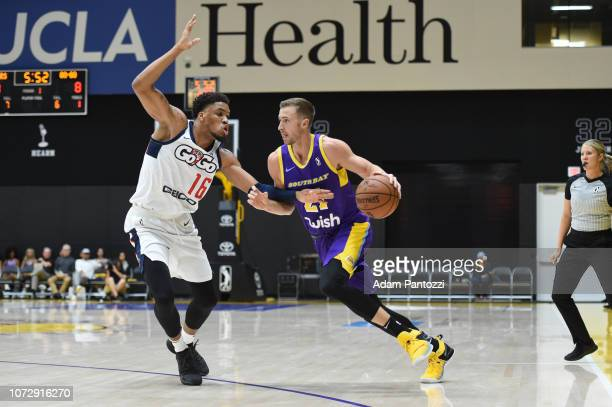 Travis Wear of the South Bay Lakers handles the basketball against the Capital City GoGo on December 13 2018 at UCLA Heath Training Center in El...