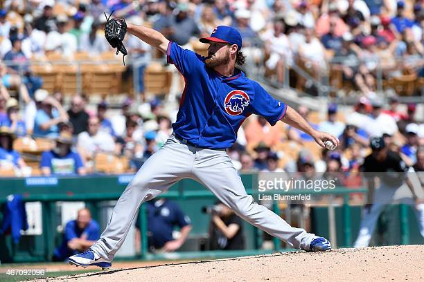 Travis Wood of the Chicago Cubs pitches against the Chicago White Sox at Camelback Ranch on March 20 2015 in Glendale Arizona