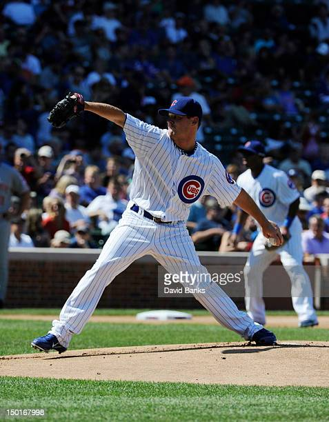 Travis Wood of the Chicago Cubs pitches against the Cincinnati Reds in the first inning on August 11 2012 at Wrigley Field in Chicago Illinois