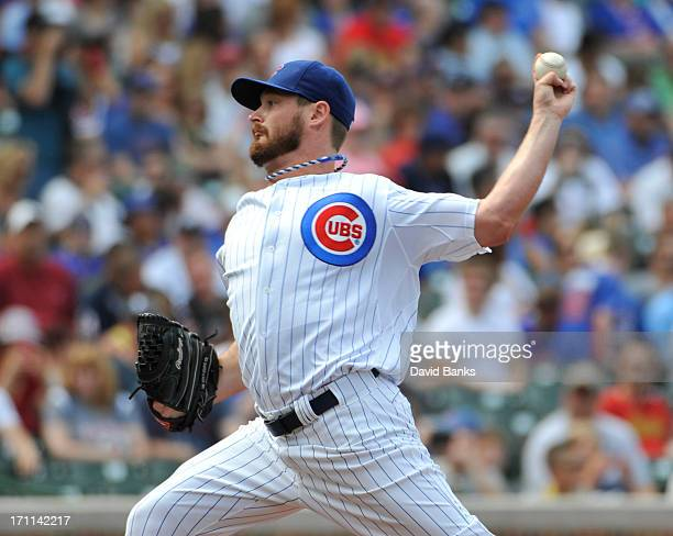 Travis Wood of the Chicago Cubs pitches against the Houston Astros during the first inning on June 22 2013 at Wrigley Field in Chicago Illinois