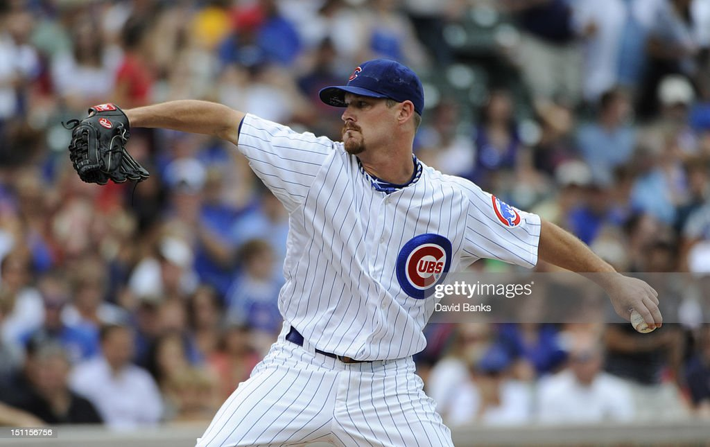 Travis Wood #30 of the Chicago Cubs pitches against the San Francisco Giants in the first inning on September 02 2012 at Wrigley Field in Chicago, Illinois.