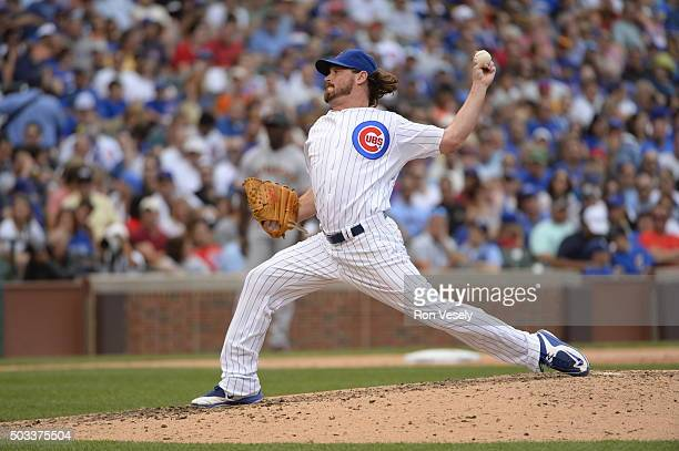 Travis Wood of the Chicago Cubs pitches during the game against the San Francisco Giants at Wrigley Field on Saturday August 8 2015 in Chicago...