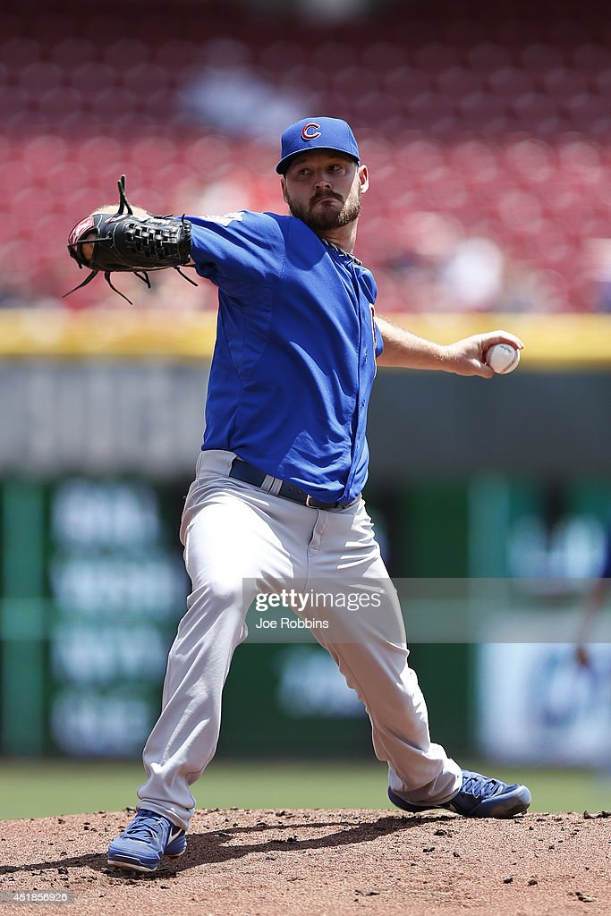 Travis Wood #37 of the Chicago Cubs pitches in the first inning of the game against the Cincinnati Reds at Great American Ball Park on July 8, 2014 in Cincinnati, Ohio.