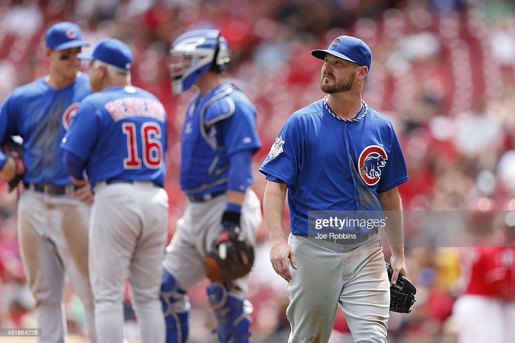 Travis Wood #37 of the Chicago Cubs reacts after being taken out of the game in the sixth inning against the Cincinnati Reds at Great American Ball Park on July 8, 2014 in Cincinnati, Ohio. The Reds won 4-2.