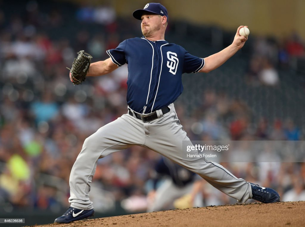 Travis Wood #37 of the San Diego Padres delivers a pitch against the Minnesota Twins during the first inning of the game on September 12, 2017 at Target Field in Minneapolis, Minnesota.