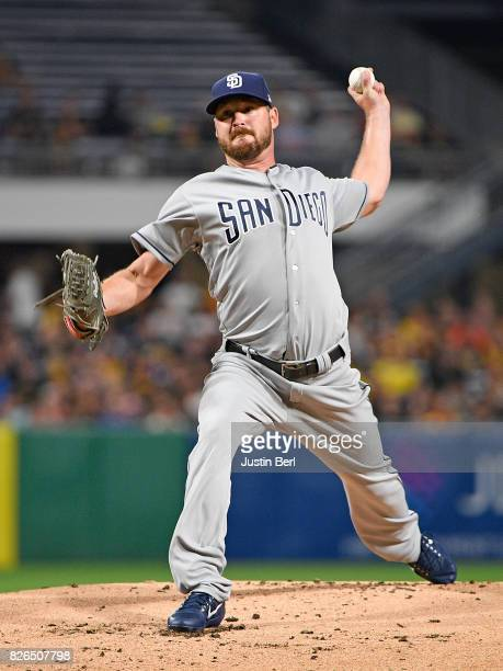 Travis Wood of the San Diego Padres delivers a pitch in the first inning during the game against the Pittsburgh Pirates at PNC Park on August 4 2017...