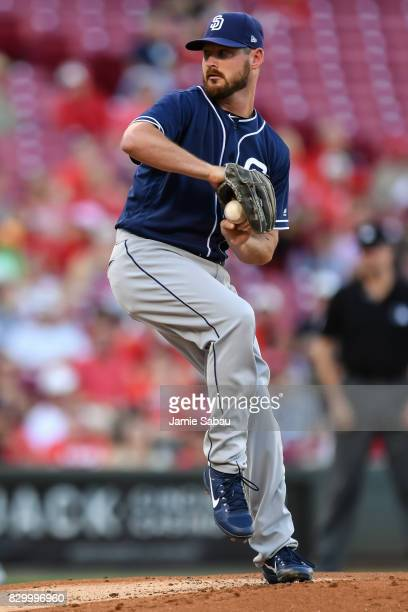 Travis Wood of the San Diego Padres pitches against the Cincinnati Reds at Great American Ball Park on August 9 2017 in Cincinnati Ohio