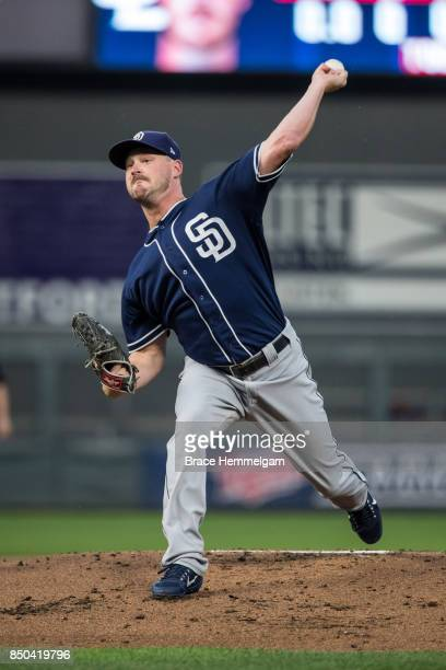 Travis Wood of the San Diego Padres pitches against the Minnesota Twins on September 12 2017 at Target Field in Minneapolis Minnesota The Twins...