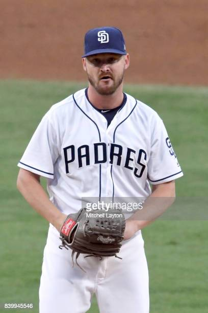Travis Wood of the San Diego Padres pitches during a baseball game against the Washington Nationals at Petco Park on August 19 2017 in San Diego...