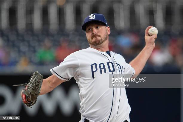 Travis Wood of the San Diego Padres pitches during the first inning of a baseball game against the Philadelphia Phillies at PETCO Park on August 14...
