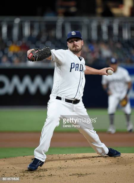 Travis Wood of the San Diego Padres pitches during the first inning of a baseball game against the Arizona Diamondbacks at PETCO Park on September 19...