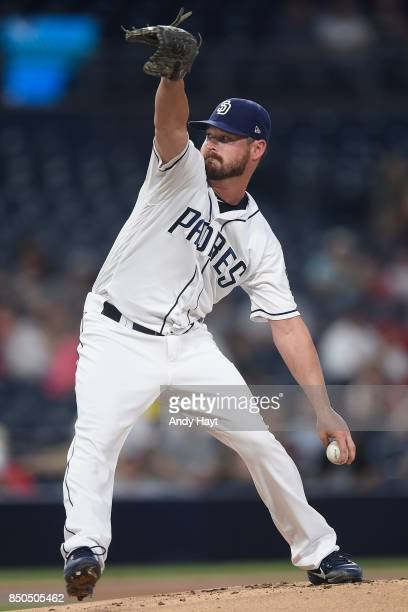 Travis Wood of the San Diego Padres pitches during the game against the St Louis Cardinals at Petco Park on September 5 2017 in San Diego California