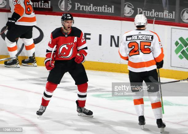 Travis Zajac of the New Jersey Devils celebrates his second period goal against the Philadelphia Flyers at the Prudential Center on January 26, 2021...