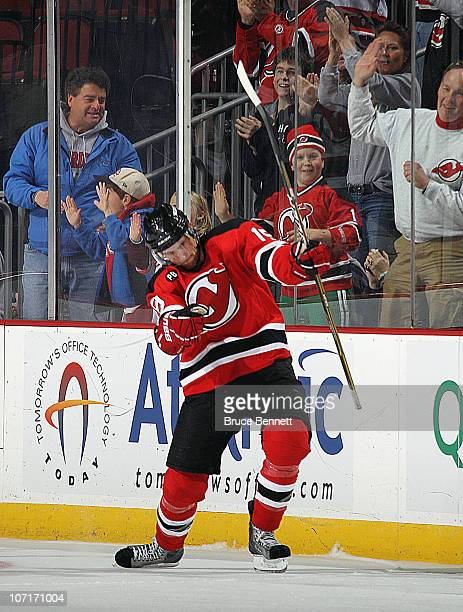Travis Zajac of the New Jersey Devils celebrates his shoot out game winning goal against the Philadelphia Flyers at the Prudential Center on November...