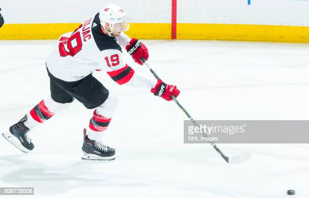Travis Zajac of the New Jersey Devils passes during the second period of the game at Honda Center on March 18 2018 in Anaheim California