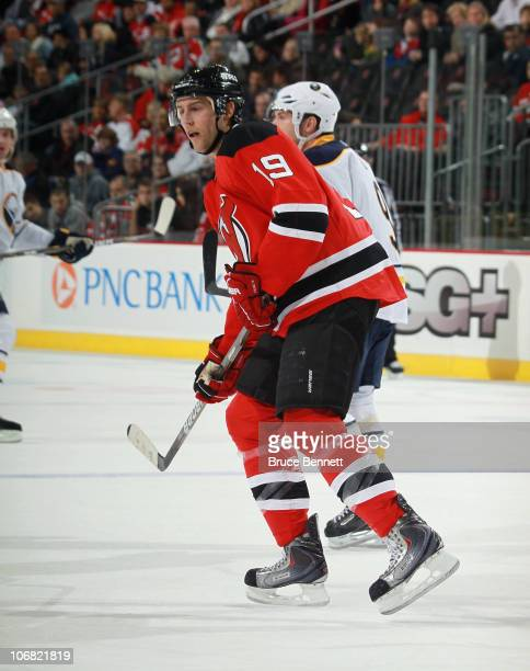Travis Zajac of the New Jersey Devils skates against the Buffalo Sabres at the Prudential Center on November 10, 2010 in Newark, New Jersey. The...