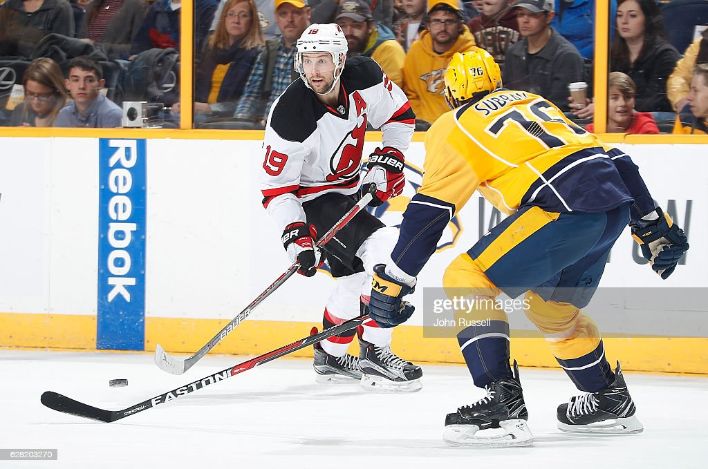 ee620100b Travis Zajac of the New Jersey Devils skates against the Nashville ...