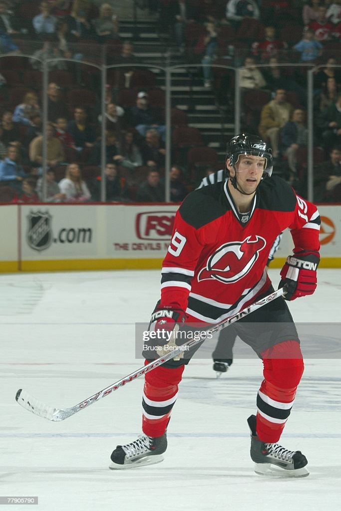 8bd95ce24 Travis Zajac of the New Jersey Devils skates during the NHL game ...