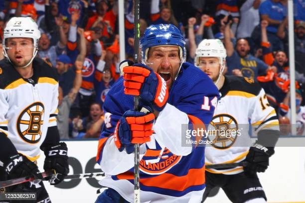 Travis Zajac of the New York Islanders celebrates after scoring a goal against the Boston Bruins during the first period in Game Six of the Second...