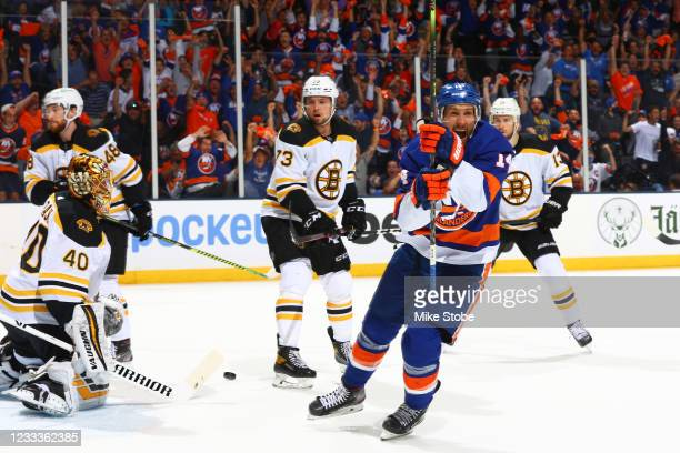 Travis Zajac of the New York Islanders celebrates after scoring a goal past Tuukka Rask of the Boston Bruins during the first period in Game Six of...
