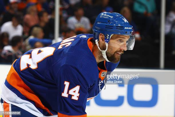 Travis Zajac of the New York Islanders in action against the Tampa Bay Lightning in Game Six of the Stanley Cup Semifinals of the 2021 Stanley Cup...