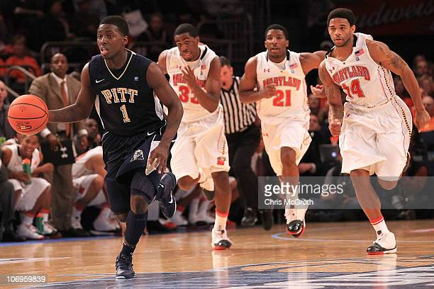 Travon Woodall of the Pittsburgh Panthers gets away on a fast break against the Maryland Terrapins during the 2k Sports Classic at Madison Square...