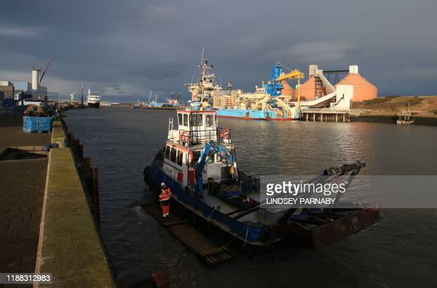 A trawler is seen at the port in the town of Blyth in northeast England on December 13 2019 the day after the former mining town voted in a...