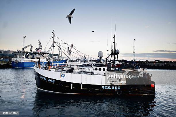 Trawler men arrive to unload their catch at Peterhead fish market for sale the following morning on November 24 2015 in Peterhead Scotland Recent...