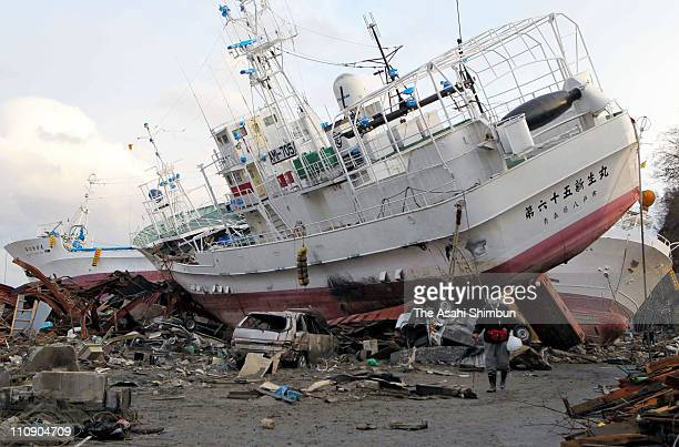 A trawler remains washed onto the city center on March 26 2011 in Kesennuma Miyagi Japan The 90 magnitude strong earthquake struck offshore on March...