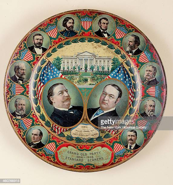 A tray commemorating William Howard Taft's run for the presidency in 1908 1908 Lithographed in color around the rim are stars and stripes shields...