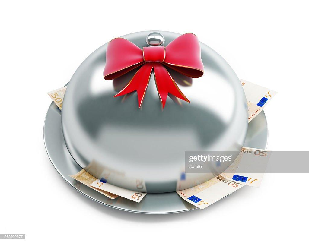 tray euro money gift on a white background : Stock Photo