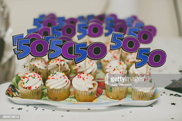 Tray of 50th birthday cupcakes