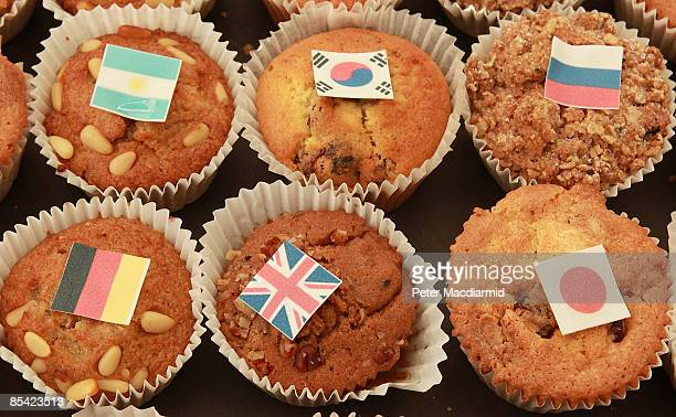 A tray of breakfast muffins bearing the flags of the G20 nations is put out for the press as finance ministers and central bankers gather for the...