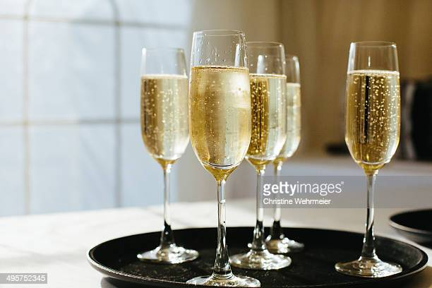 Tray of Champagne flutes