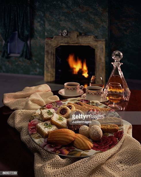 Tray of cookies by fireplace