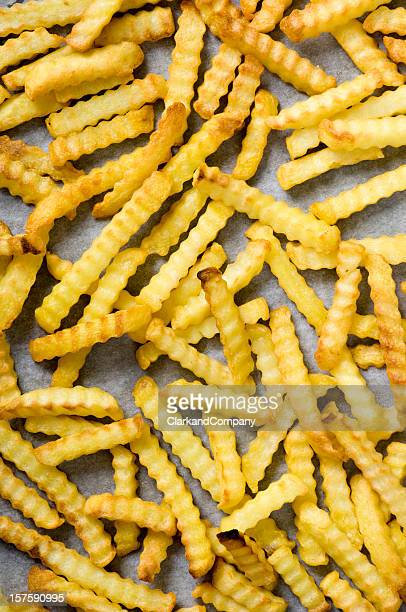 Tray of Crinkle Cut Oven Chips or Fries Overhead View