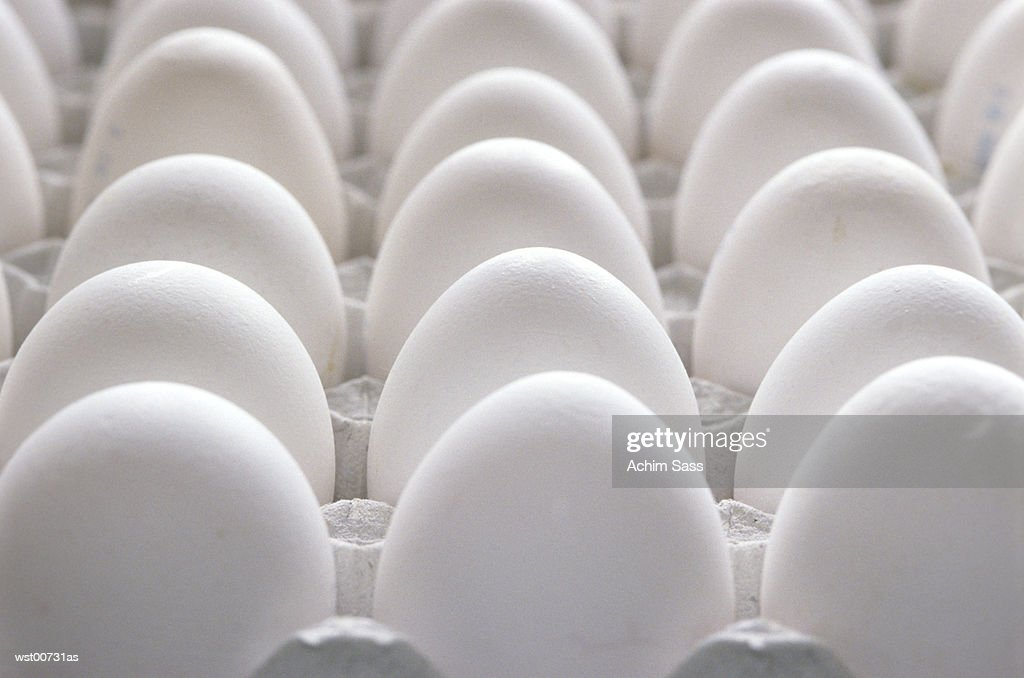 Tray of eggs, close up : Stock Photo