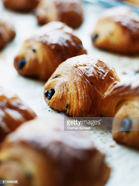 Tray of freshly baked pan au chocolate pastries