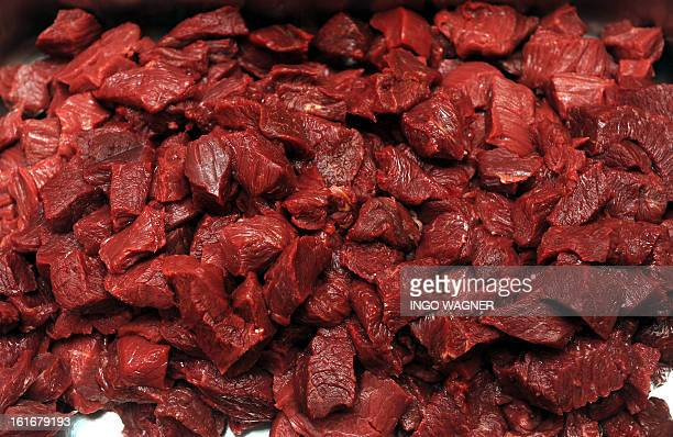 A tray of horse meat is on sale at a shop in Bremen northern Germany on February 14 2013 scandal over horsemeattainted food spiralled after Britain...