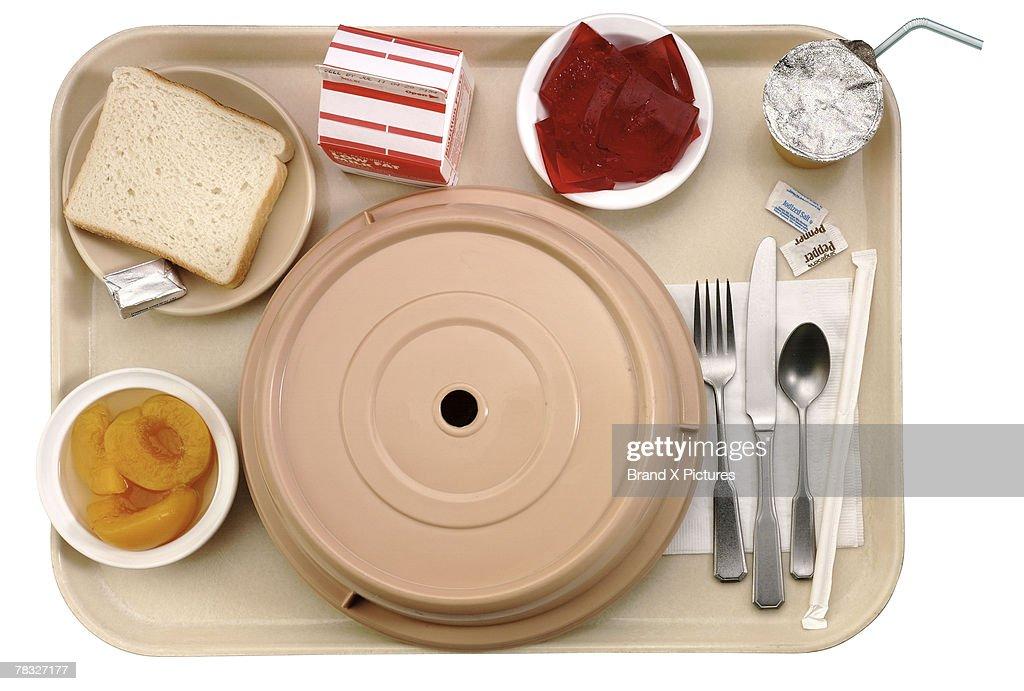 Tray of hospital food : Stock Photo