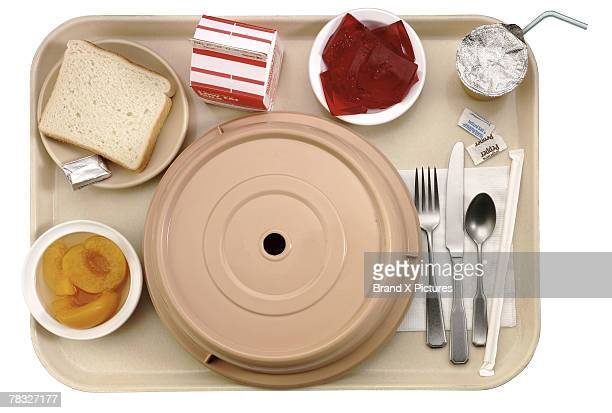 tray of hospital food - tray stock pictures, royalty-free photos & images