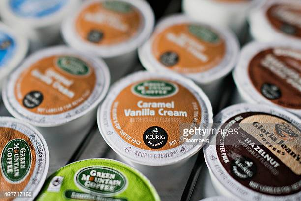 Tray of Keurig Green Mountain Inc. K-Cup coffee packs is arranged for a photograph at a salon in Princeton, Illinois, U.S., on Tuesday, Feb. 3, 2015....